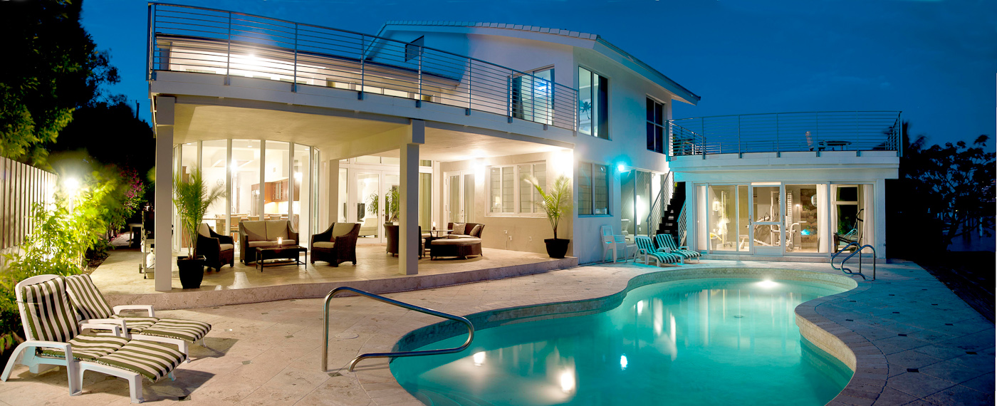 "Mansion with pool at night  7 bedroom, Miami Beach ""CEO Mansion"" - JPL Vacation Rentals"